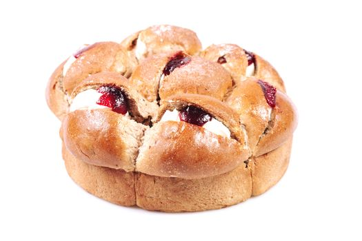 Raspberry jam and cream pastry on a white background