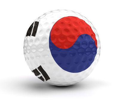 South Korean Golf Ball (Isolated with clipping path)