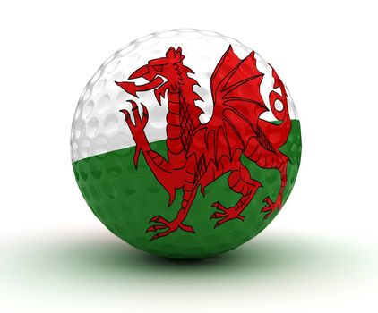 Welsh Golf Ball (Isolated with clipping path)