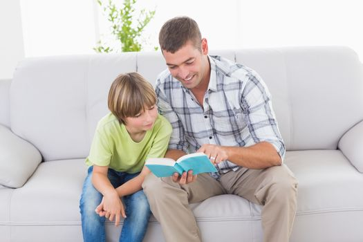 Father reading story for boy on sofa