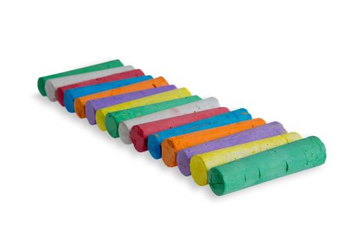 Neat diagonal row of colored chalks