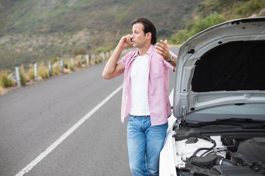 Man after a car breakdown