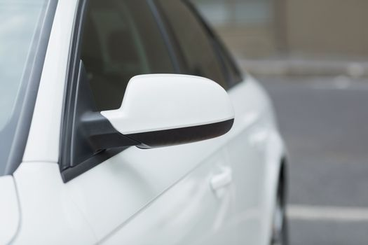 Close up of a wing mirror