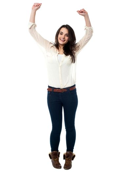 Teen girl dancing on the tune