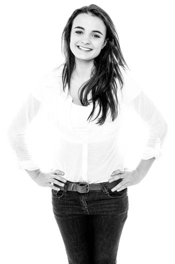 Black and white image of a trendy girl