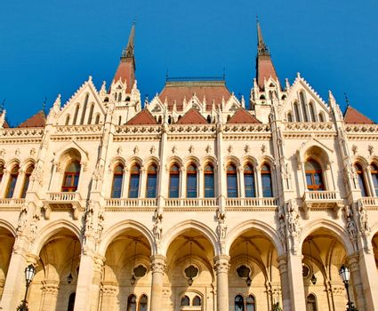 Details of the Hungarian parliament in Budapest