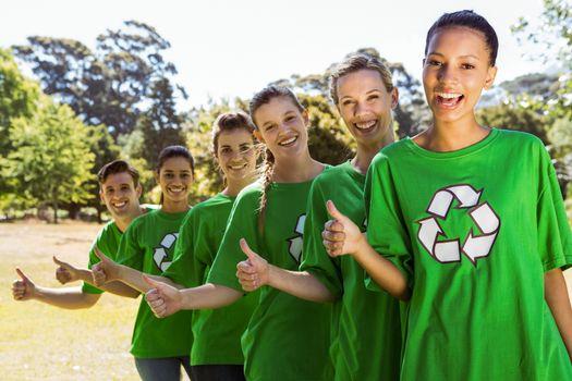 Environmental activists smiling at camera