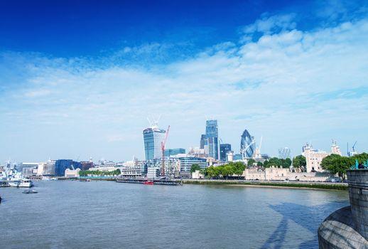 London buildings along river Thames