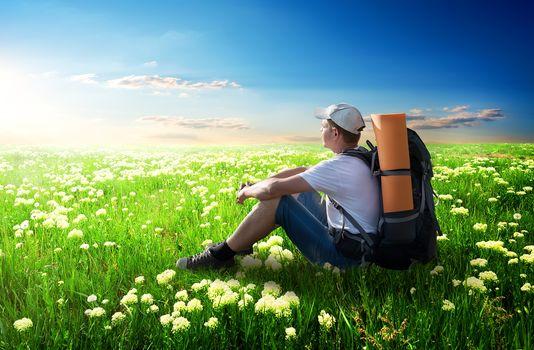 Tourist on flower field