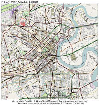 Ho Chi Minh city Vietnam map aerial view