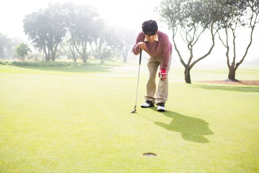 Golfer looking at the hole