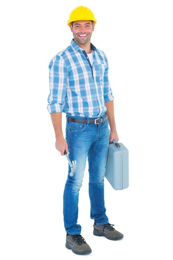 Manual worker with hammer and toolbox