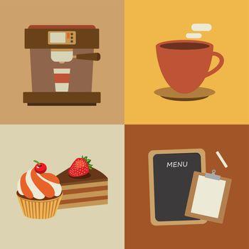 set of coffee flat design elements
