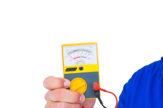 Electrician holding voltage tester
