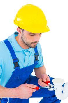 Handyman holding pliers