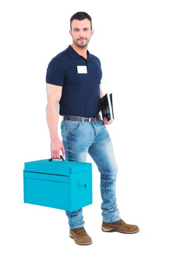 Handyman with clipboard and toolbox