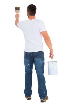 Handyman using paintbrush