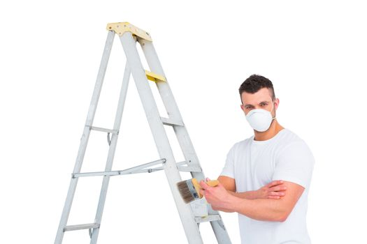handyman with paintbrush and ladder