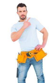 Handyman gesturing