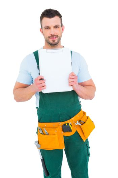 Repairman showing clipboard