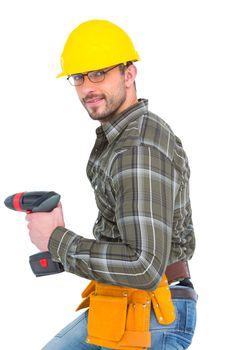 Repairman with drill machine