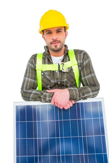 Manual worker with solar panel
