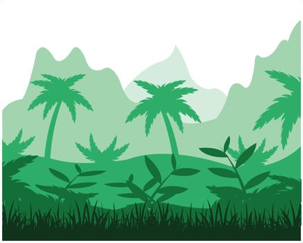 The Beautiful landscape with tropical jungle.Vector illustration