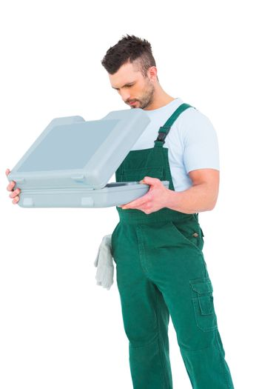 Repairman opening toolbox