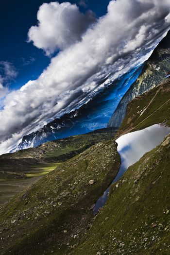 Landscape in mountains, natural colorful tone