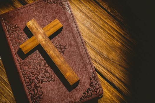 Crucifix icon on the bible