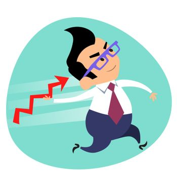 Businessman throwing a spear schedule of sales business theme sp