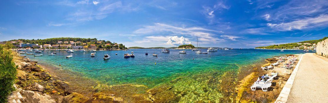 Hvar yachting beach panoramic view