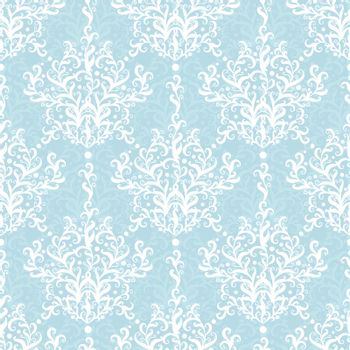Vintage vector light blue branches damask seamless pattern background graphic design