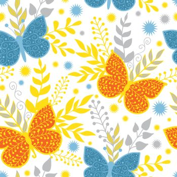 Vector vibrant blue and orange butterflies seamless pattern background graphic design