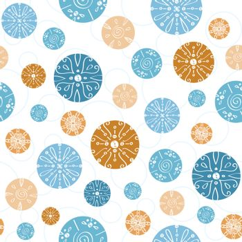 Vector abstract blue brown vintage circles seamless pattern background graphic design