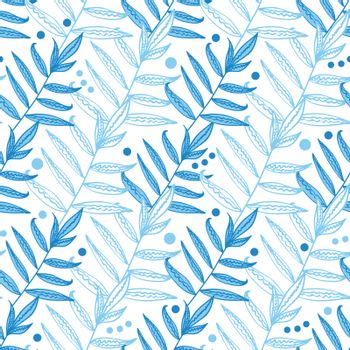 Vector blue line art leaves seamless pattern background graphic design