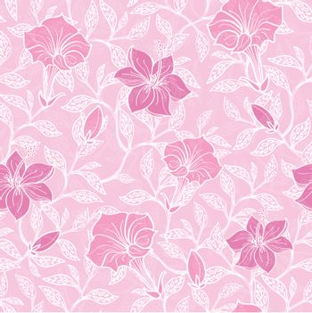 Vector soft pink lineart blossoms seamless pattern background graphic design