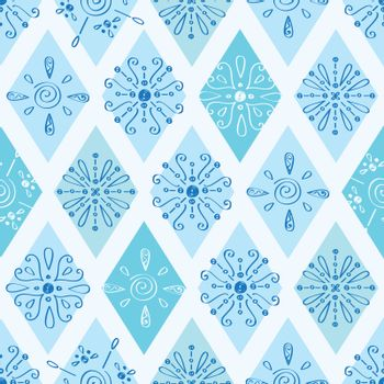Vector abstract blue doodle rhombus seamless pattern background graphic design