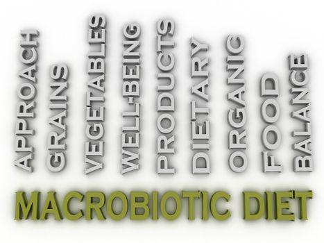 3d image macrobiotic diet  issues concept word cloud background