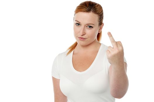 Woman showing middle finger.