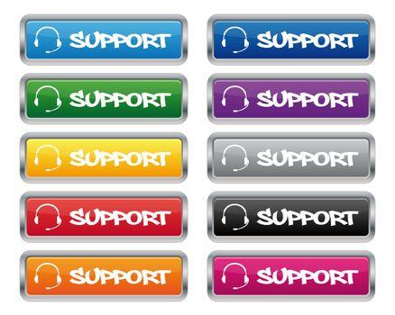Support metallic rectangular buttons