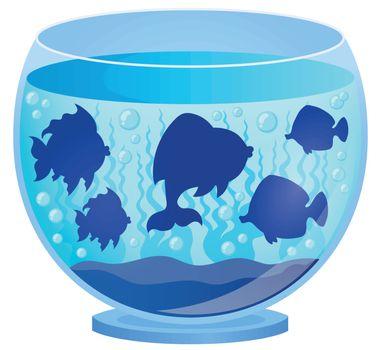 Aquarium with fish silhouettes 2