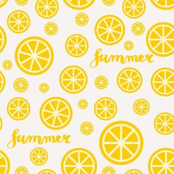 Lemon Slices Summer Seamless Pattern