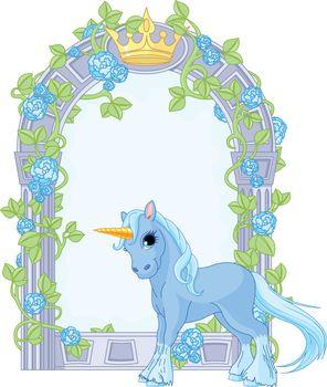 Unicorn close to flower frame