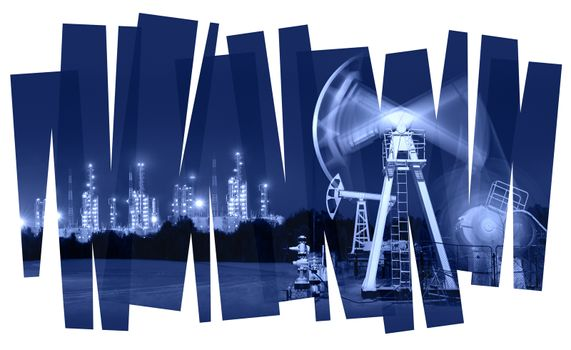 Oil pump and refinery abstract  background. Oil and gas industry. Photo collage toned blue. Isolate on a white.
