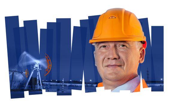 Oil worker in orange uniform and helmet on of collage background the pump jack.