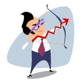 Businessman archery schedule of sales business theme sports