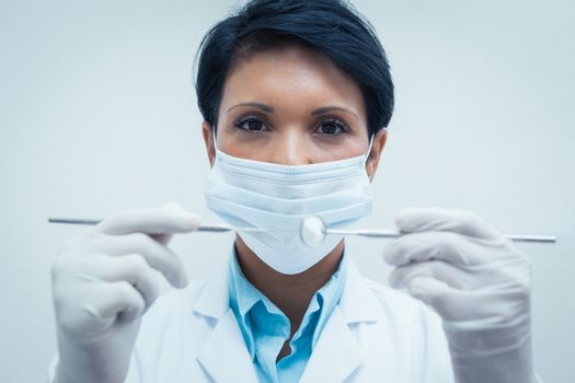Portrait of female dentist in surgical mask holding dental tools