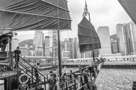 HONG KONG - APRIL 14, 2014: Famous Aqua Luna boat in Hong Kong P