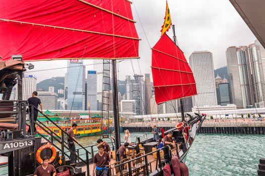 HONG KONG - APRIL 14, 2014: Famous Aqua Luna on a spring day. It